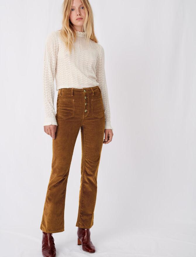 Straight-cut velvet trousers - Pants & Jeans - MAJE