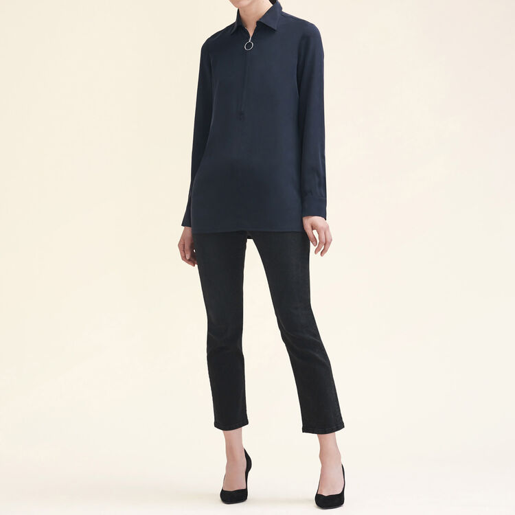 Silk shirt with zip : Tops & Shirts color Black 210