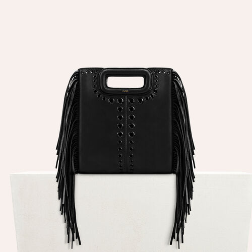 Leather M bag with eyelets and fringing : Shoes & Accessories color Black 210