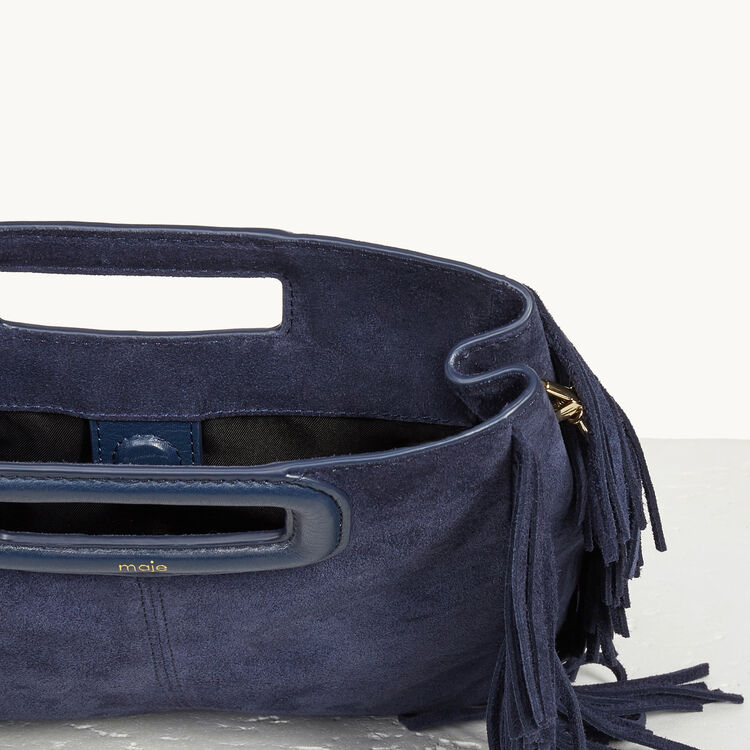 Suede leather bag with fringing : M Bags color Navy