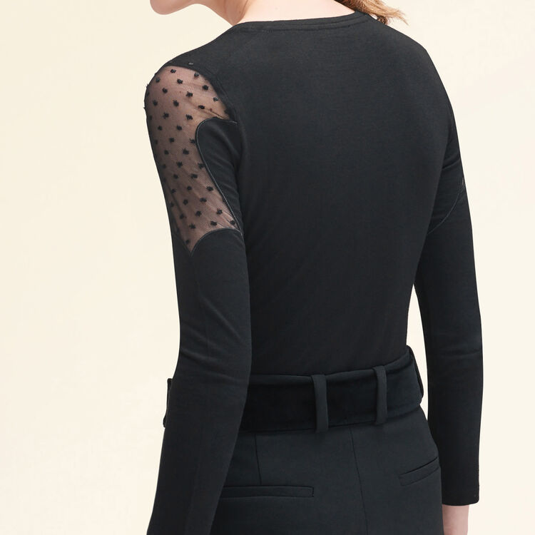 T-shirt with dotted Swiss : Tops & Shirts color Black 210