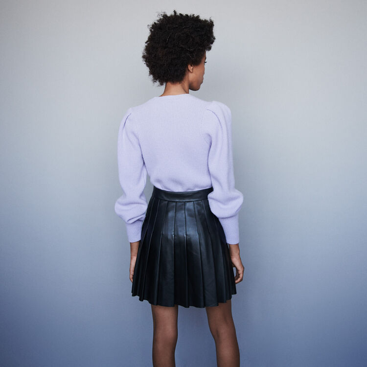 Pleated leather skirt : Skirts & Shorts color Black