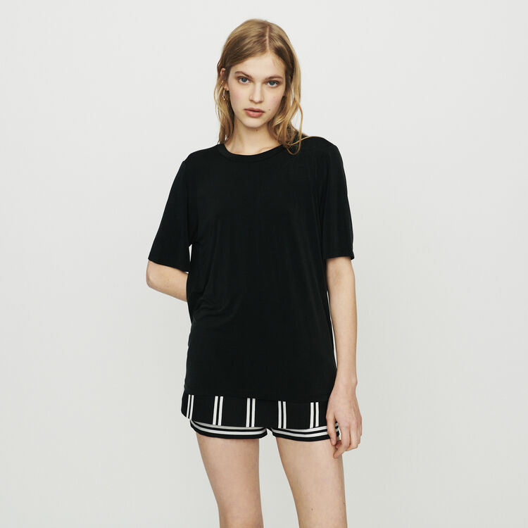 T-shirt in cupro : Tops & T-Shirts color Black