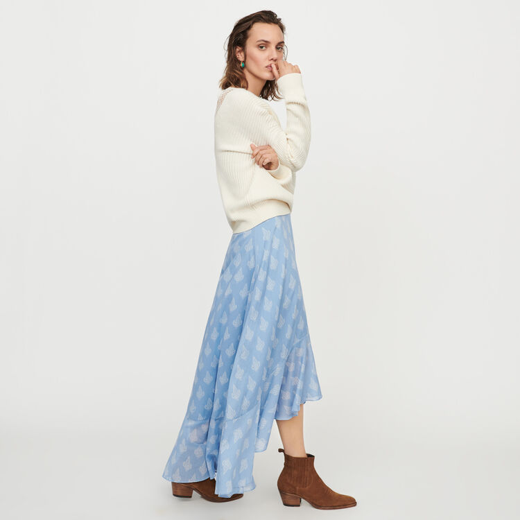 Long printed ruffle skirt : Skirts & Shorts color Blue