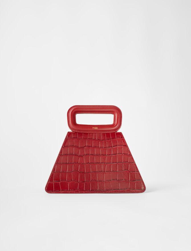 Embossed leather pyramid handle bag - Medium Bags - MAJE