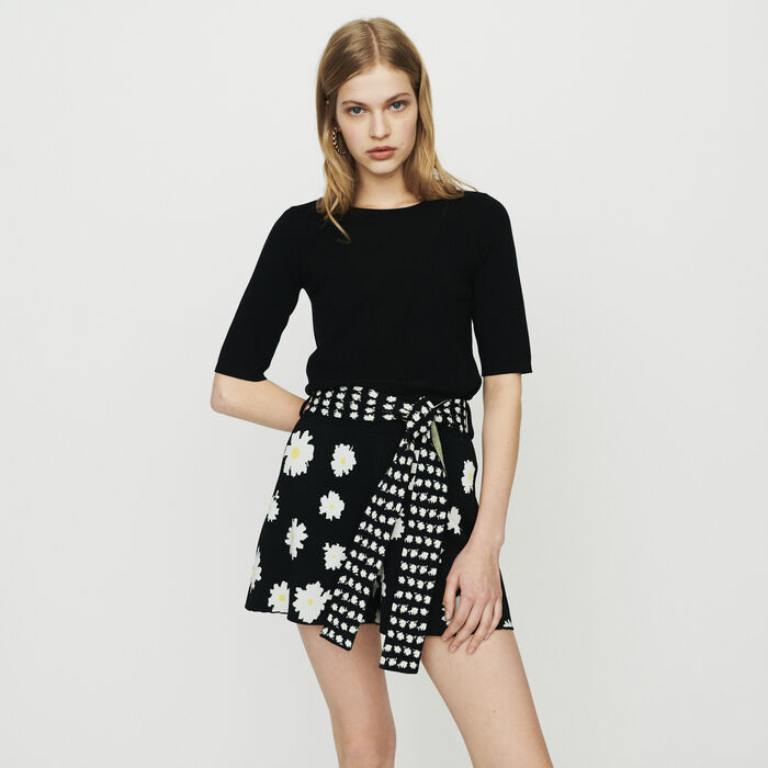Short-sleeved  sweater : Sweaters color BLACK