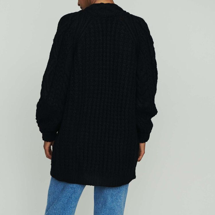 Oversize cardigan in twisted mesh knit : Sweaters color Black 210
