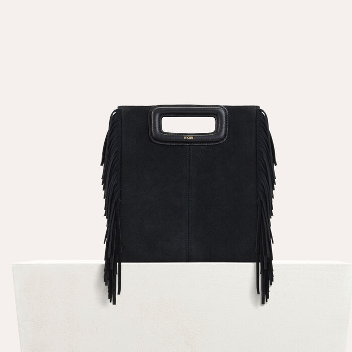 M bag with suede fringes : M Bags color Black 210
