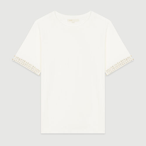 Open-work T-shirt with rhinestone : The Essentials color Ecru