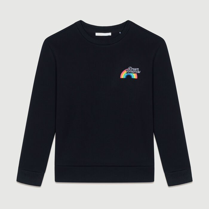 Graphic fleece sweatshirt : Sweaters color Black 210