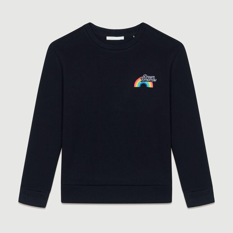 Graphic fleece sweatshirt : Sweaters color Black 210