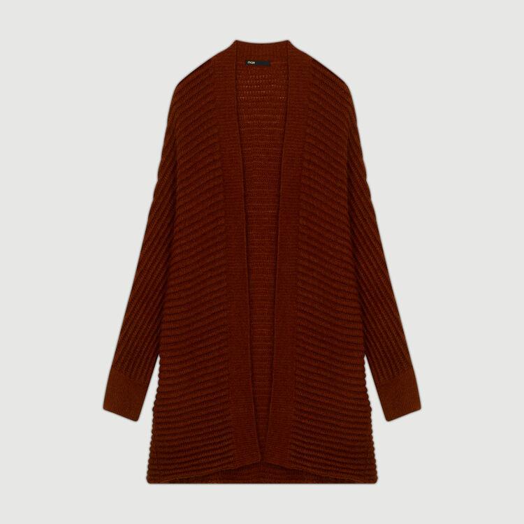 Mohair cardigan in alpaca blend : Sweaters color Caramel