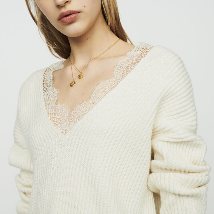 Oversized sweater with lace : Sweaters color Ecru