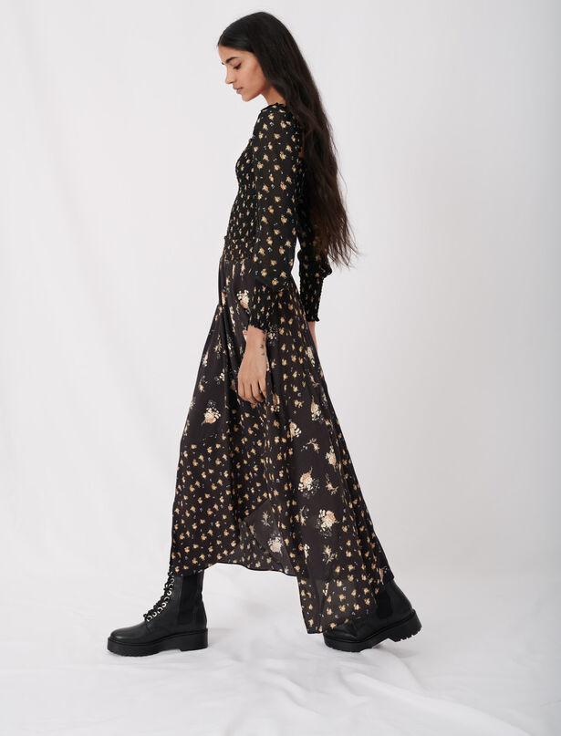마쥬 플로럴 스커트 (김지원 착용) MAJE 120JARTRI Crepe skirt with mixed floral prints,Black / Camel