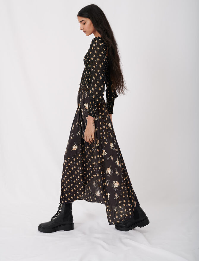 Crêpe skirt with mixed floral prints -  - MAJE