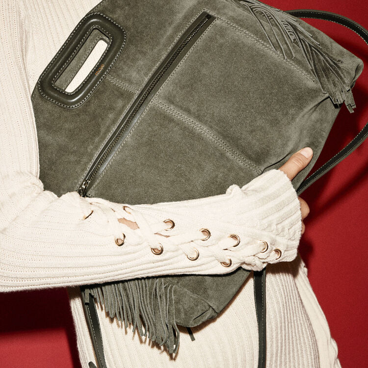 Suede shoulder bag -  - MAJE