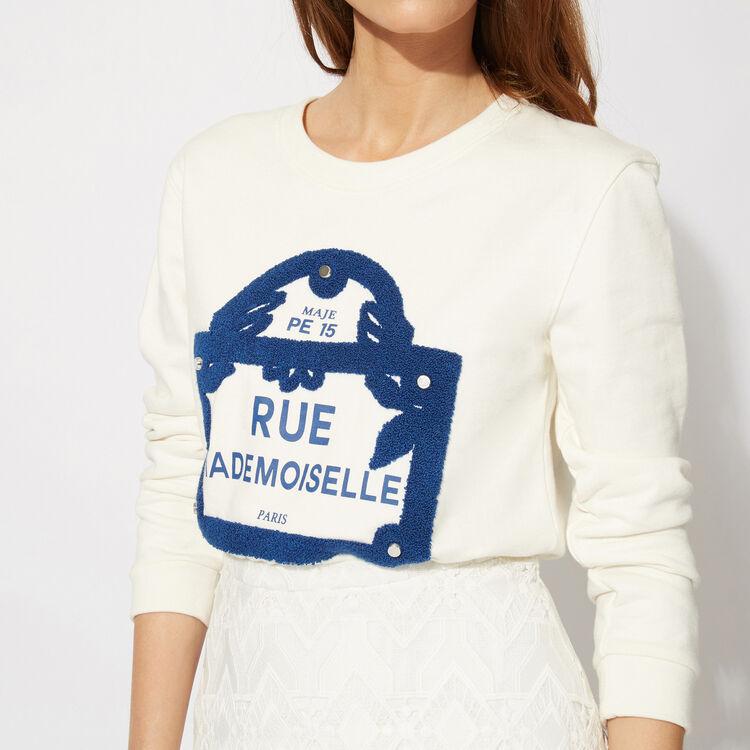 Flocked cotton sweatshirt : Features color