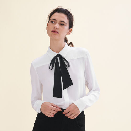 Floaty shirt with pussy bow-style tie : Tops & Shirts color Ecru