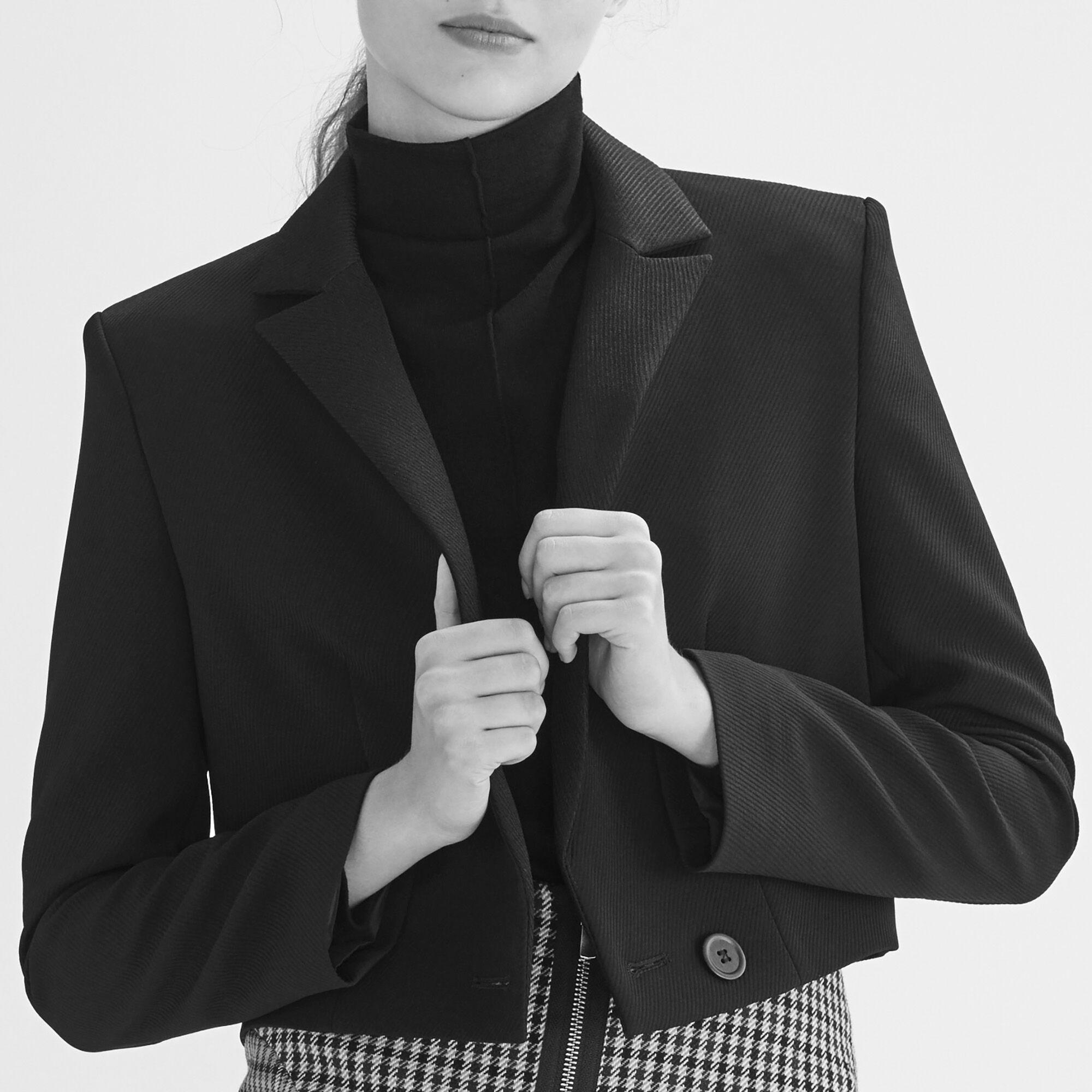 Black and white short coats