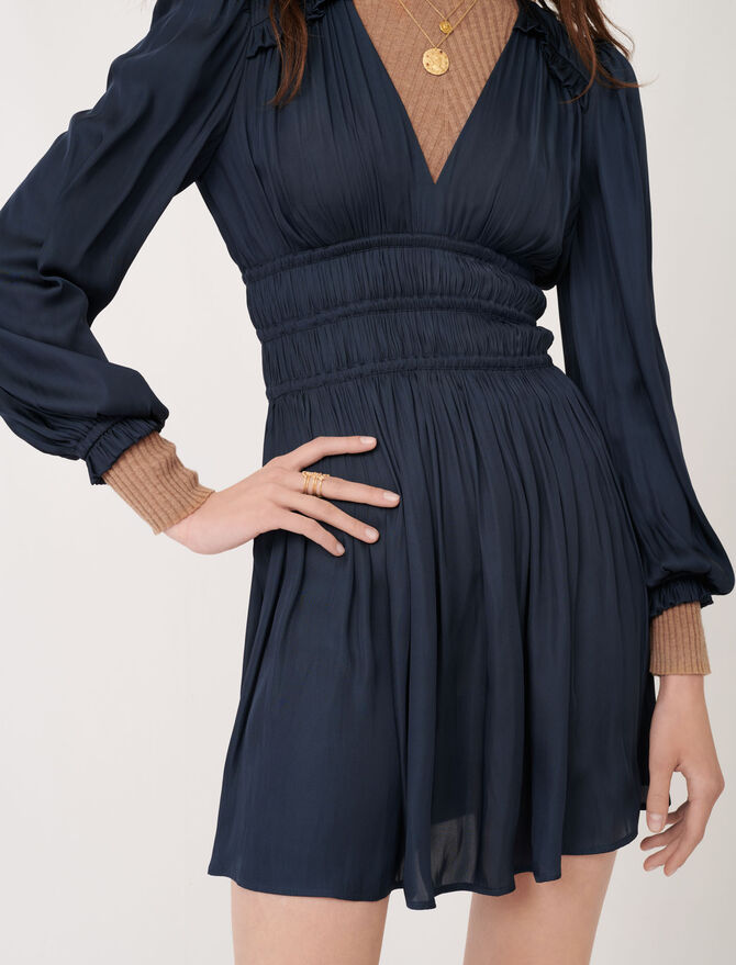 120rianne Satin Dress With Ruffles The Essentials Maje Com