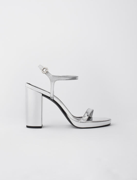 High-heeled sandals in metallic leather : Sandals color Silver