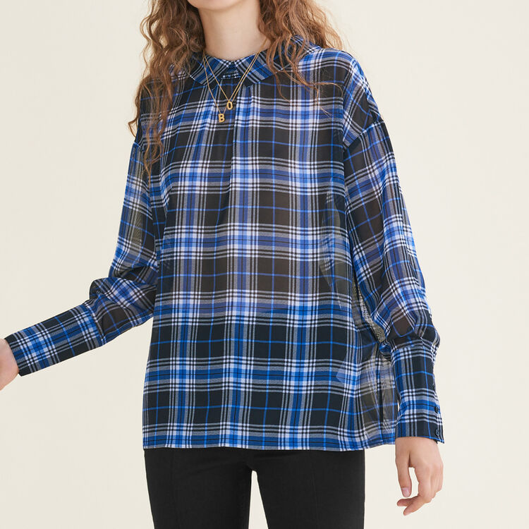 Loose checked top : Tops & Shirts color PRINTED