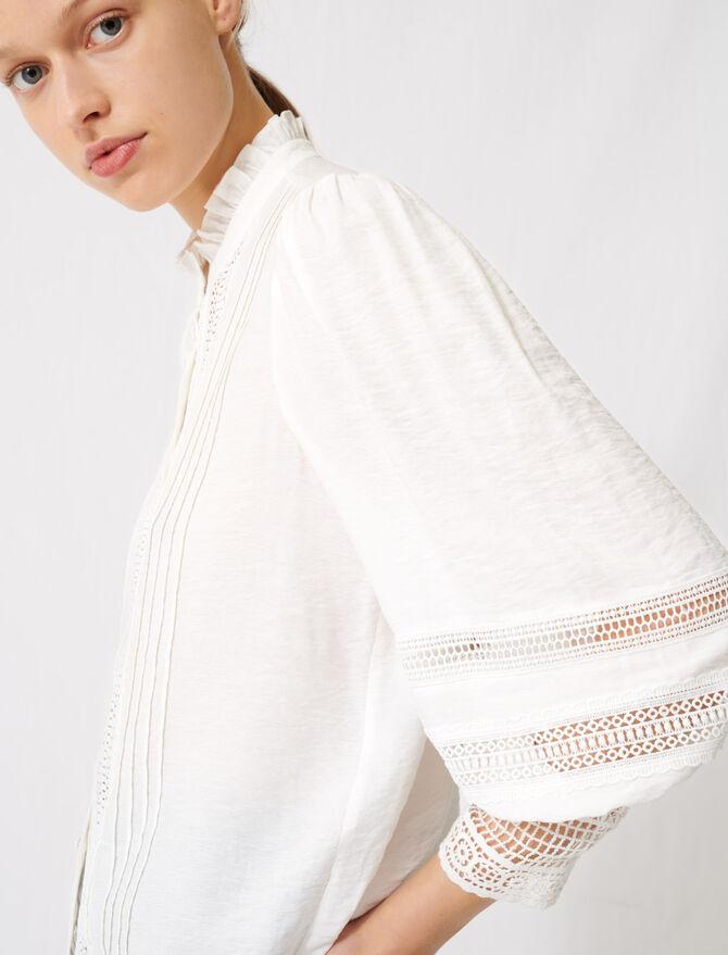 Romantic cotton and lace shirt - Tops & T-Shirts - MAJE