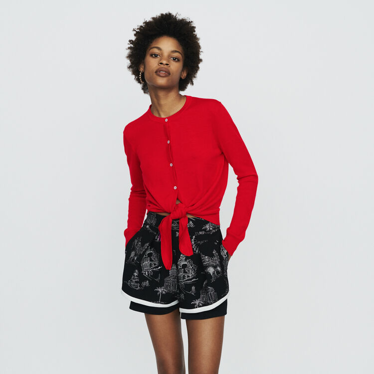 Knotted cardigan : Sweaters color Red