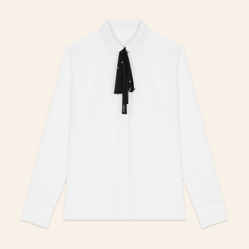 Silk blouse with tulle tie : Tops & Shirts color White