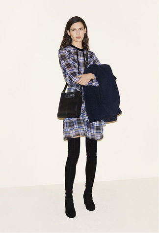 Faux sheepskin duffle coat, Tartan top, Tartan skirt with frills, Leather bag, Suede lambskin thigh boots - FW MAJE 2017 Lookbook