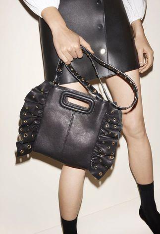 Leather dress, Poplin blouse, Bag with flounces, Suede goatskin court shoes - FW MAJE 2017 Lookbook