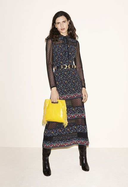 Printed dotted Swiss dress, Leather belt with buckle, Smooth leather bag, Leather boots - FW MAJE 2017 Lookbook