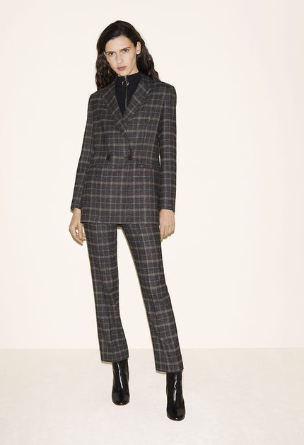Tartan blazer, Sweater with zipped collar, Tartan trousers, Leather ankle boots - FW MAJE 2017 Lookbook