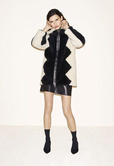 Sheepskin coat, Leather A-line skirt, Suede goatskin court shoes - FW MAJE 2017 Lookbook
