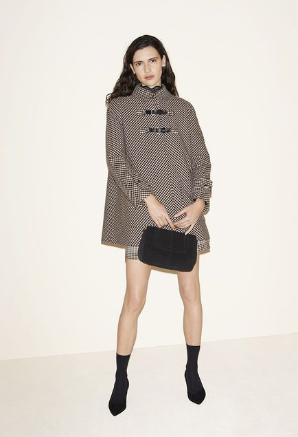 Checked A-line coat, Lace top, Zip-up checked A-line skirt, Suede calfskin bag, Suede goatskin court shoes - FW MAJE 2017 Lookbook
