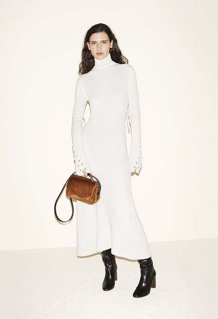Knitted dress, Faux fur bag, Leather boots - FW MAJE 2017 Lookbook