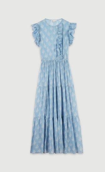 Long printed ruffled dress