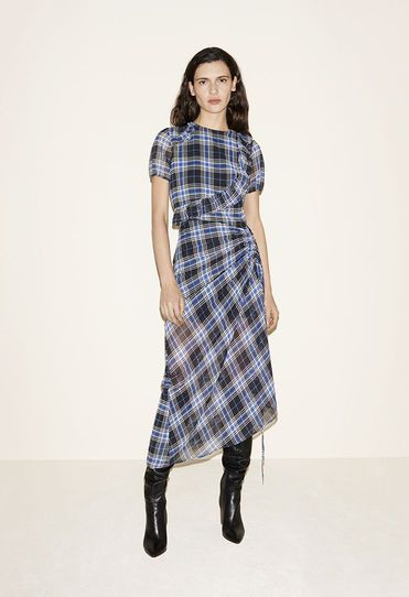 Long tartan dress, Leather thigh boots - FW MAJE 2017 Lookbook