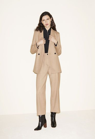Blazer, Zip-up silk shirt, 7/8 length wide-leg trousers, Leather boots - FW MAJE 2017 Lookbook