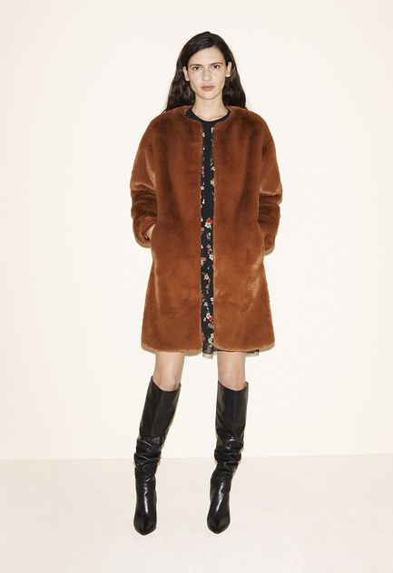 Faux fur coat, Dress with a floral print, Leather thigh boots - FW MAJE 2017 Lookbook