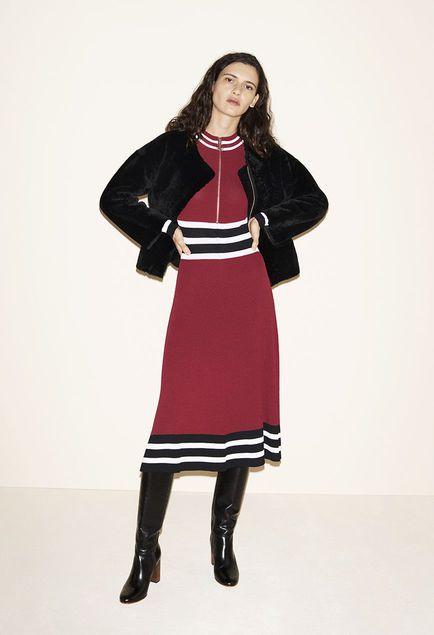 Reversible sheepskin jacket, Long knitted dress, Leather boots - FW MAJE 2017 Lookbook