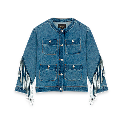 Denim jacket with fringe - Coats & Jackets - MAJE