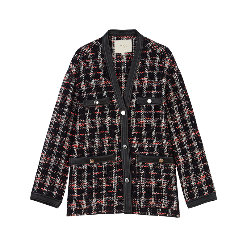 Tweed-syle contrast jacket - Coats & Jackets - MAJE