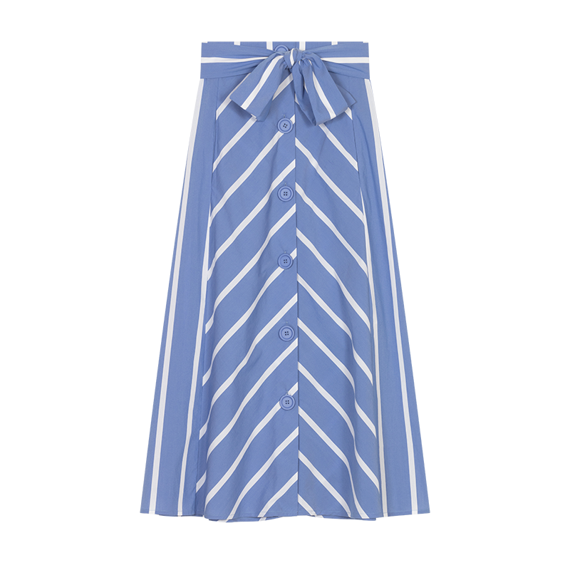 Long striped skirt with buckles - Skirts & Shorts - MAJE