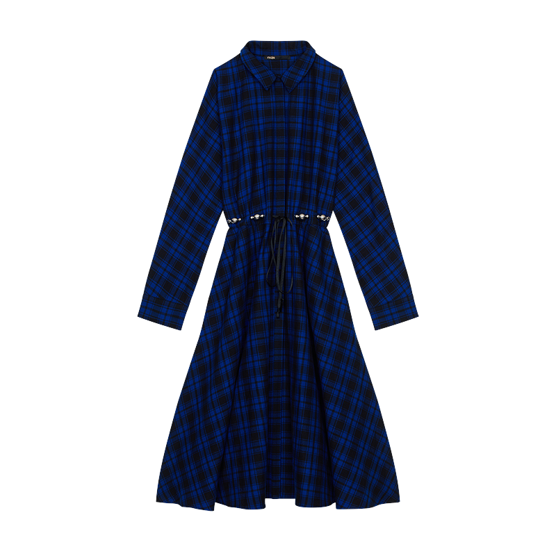 Long plaid shirt dress - Dresses - MAJE