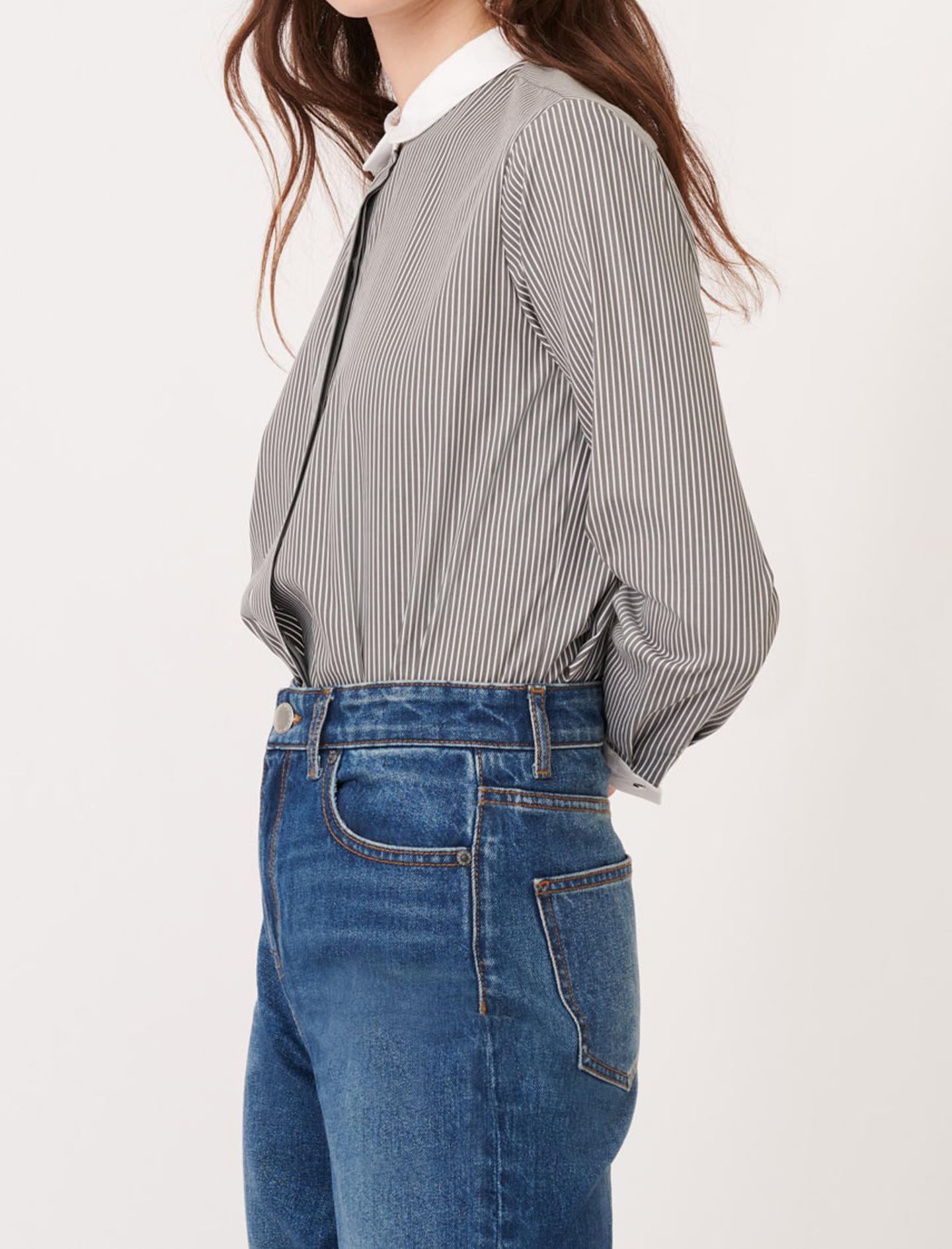 Maje Striped poplin shirt with plain details