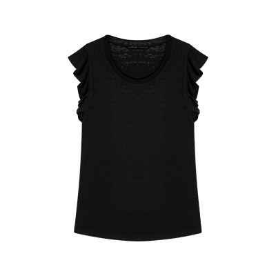 Black sleeveless top with ruffles - Spring Pre-Collection - MAJE