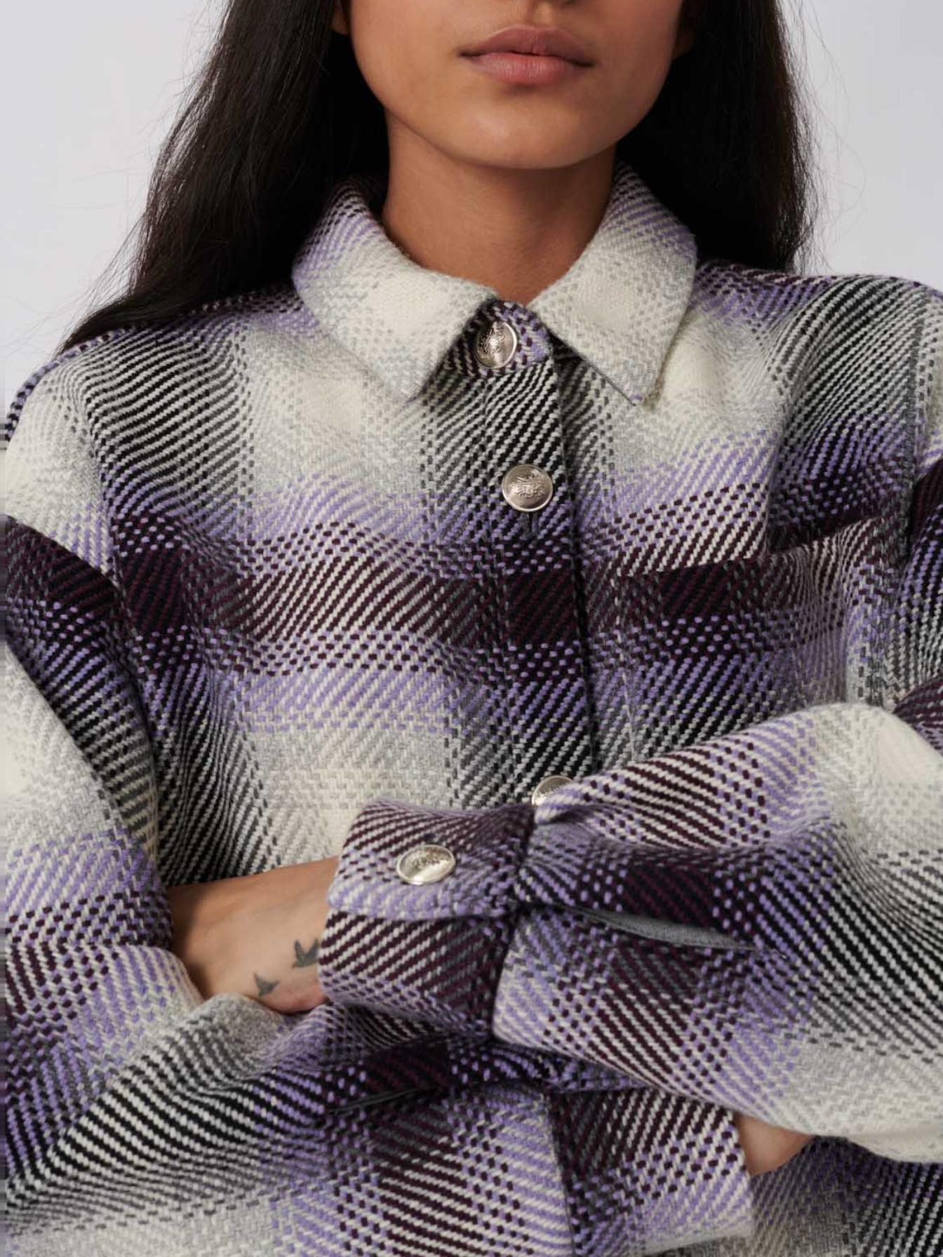 Maje Checked overshirt-style jacket