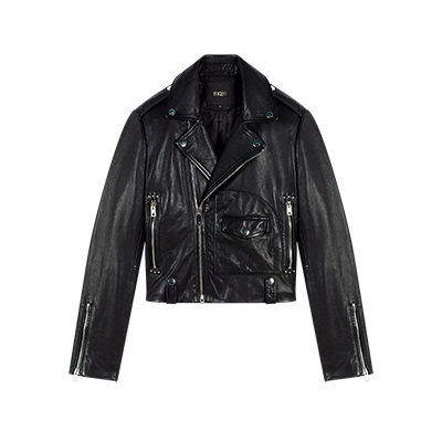 Leather biker-style jacket - Coats & Jackets - MAJE