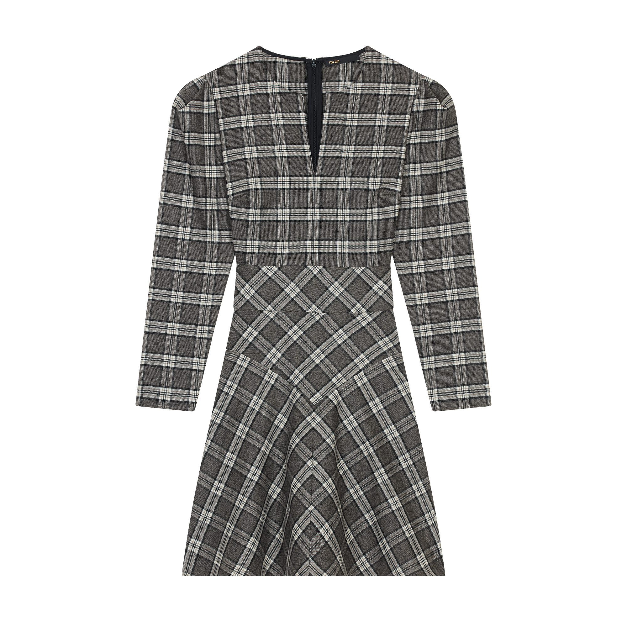 Wool blend plaid dress - Dresses - MAJE